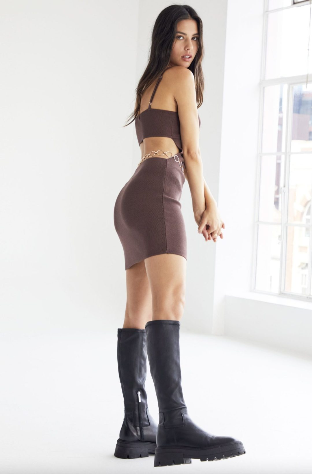 Brown cut out dress with combat boots