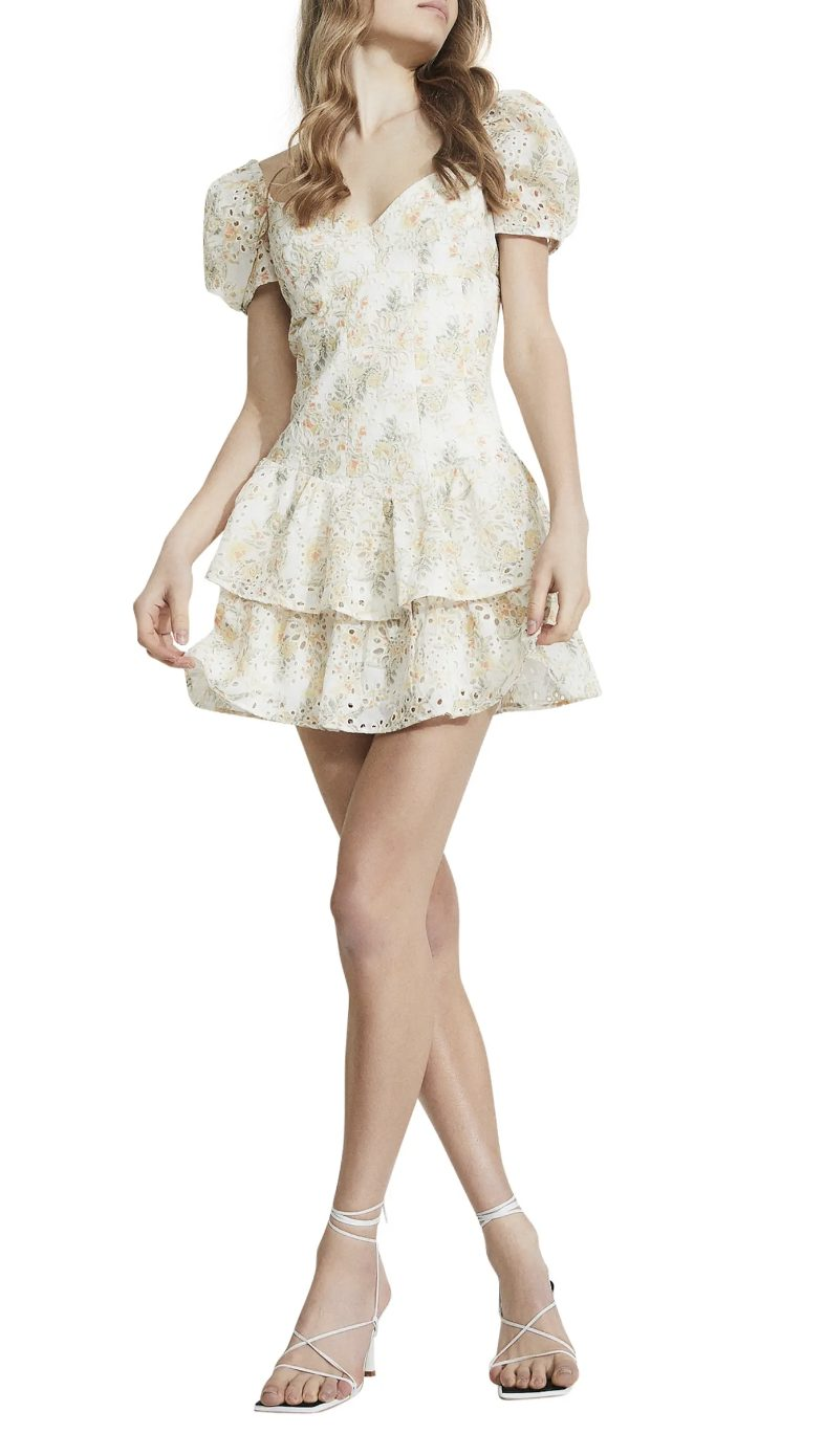 Cute and romantic white ruffle mini dress with short sleeves