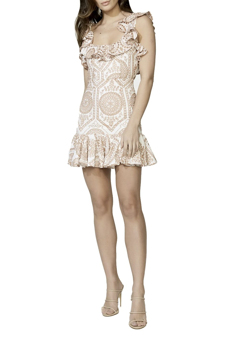 White and brown mini dress with ruffles