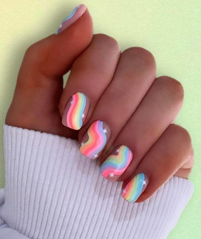 Short pastel rainbow nails