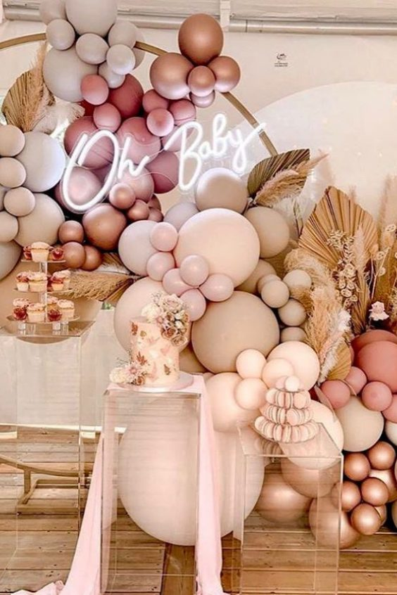Rose Gold, Cream, Peach and Apricot Balloon Garland And Arch