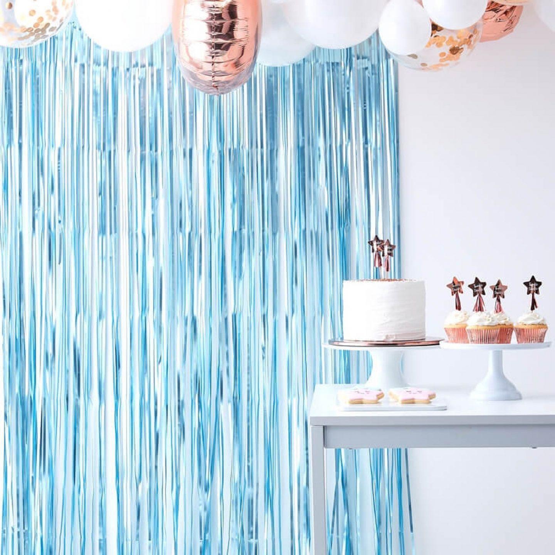 Blue Foil Fringe Curtain Decoration