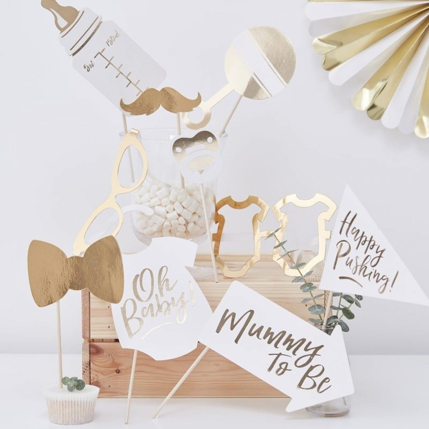 White and gold baby shower photo props
