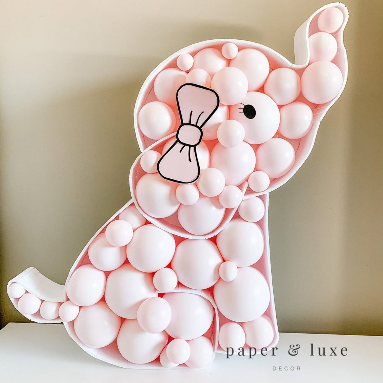 Pink elephant baby shower decor