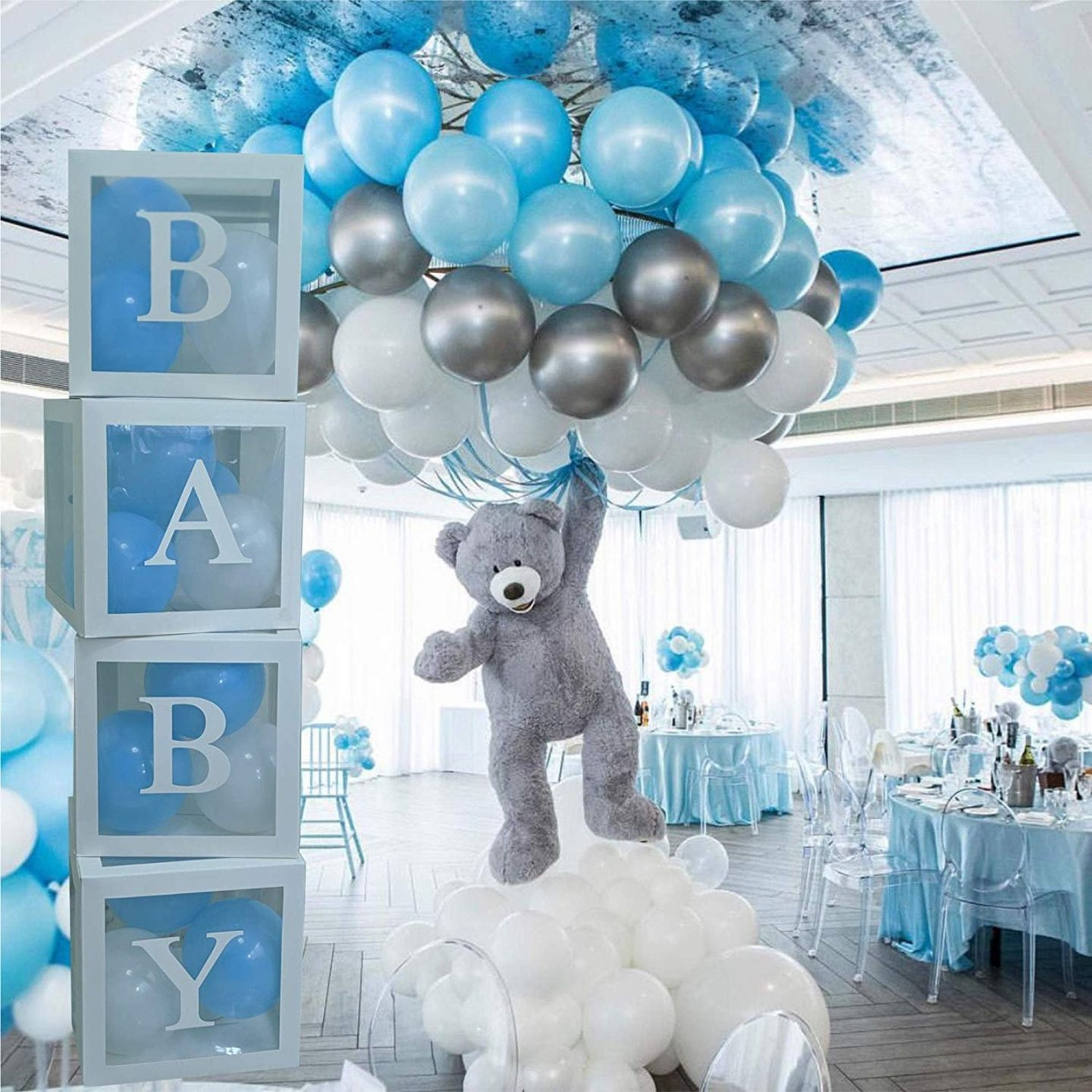 Cute blue baby boy baby shower balloons and custom boxes