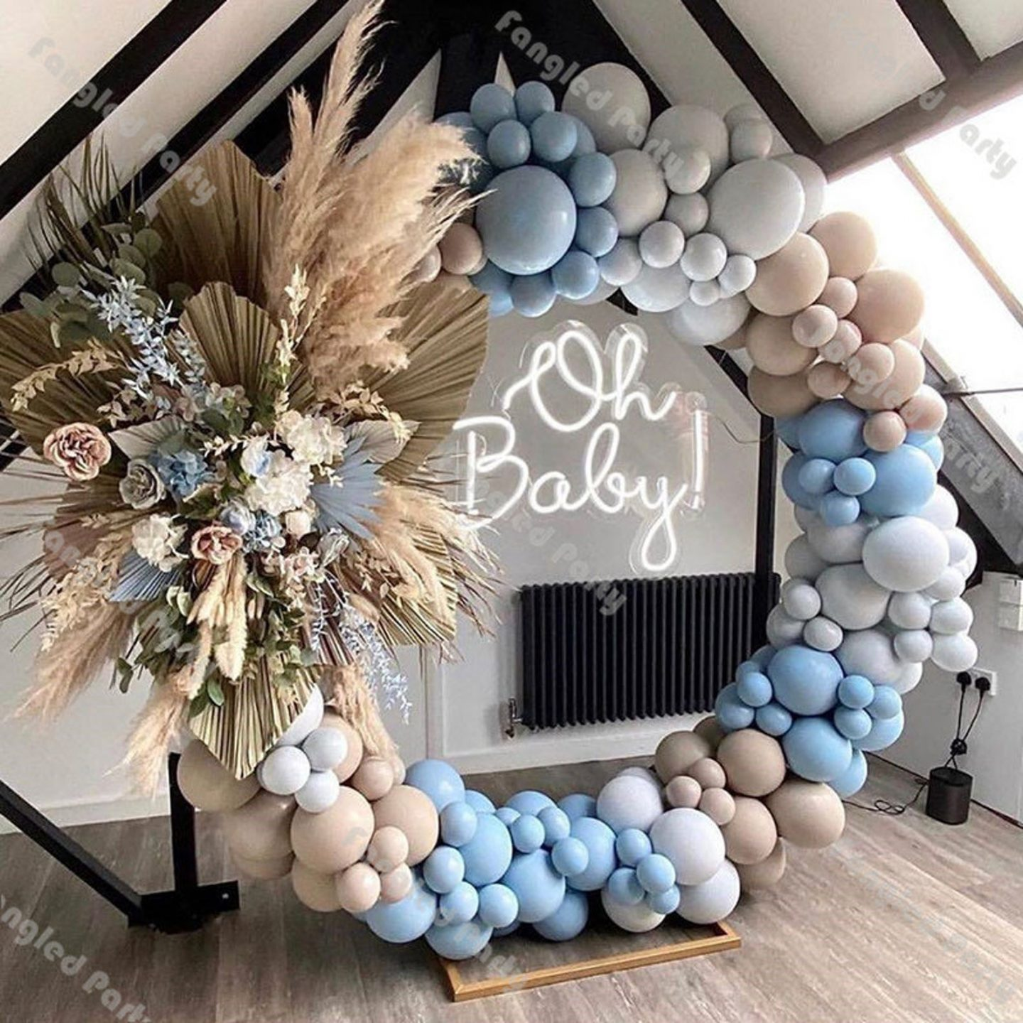 Ombre blue balloons arch kit and balloon garland for baby shower