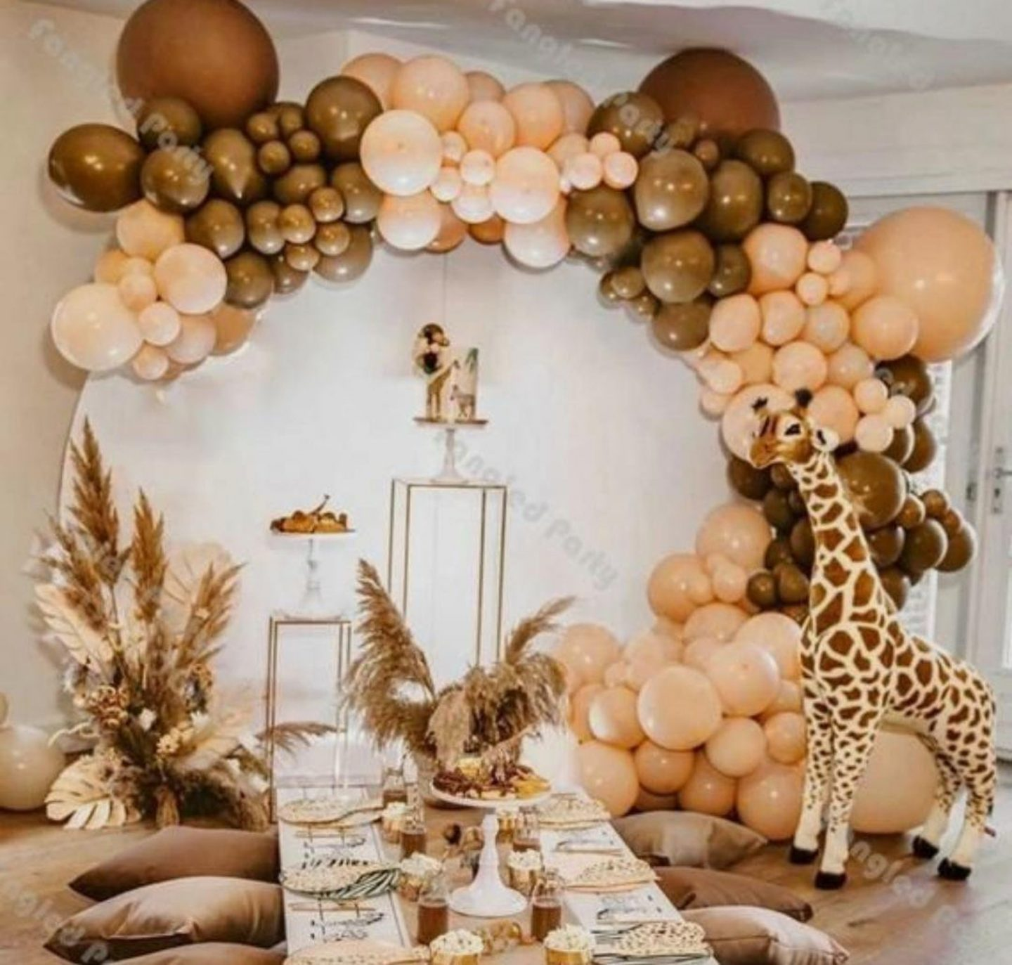 Brown safari themed balloon garland arch for parties