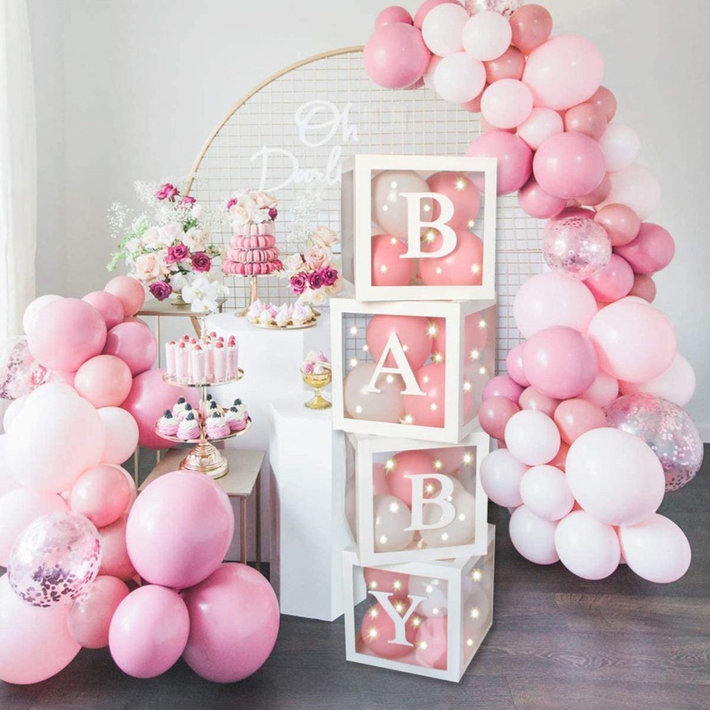 Cute pink baby shower balloons and custom box