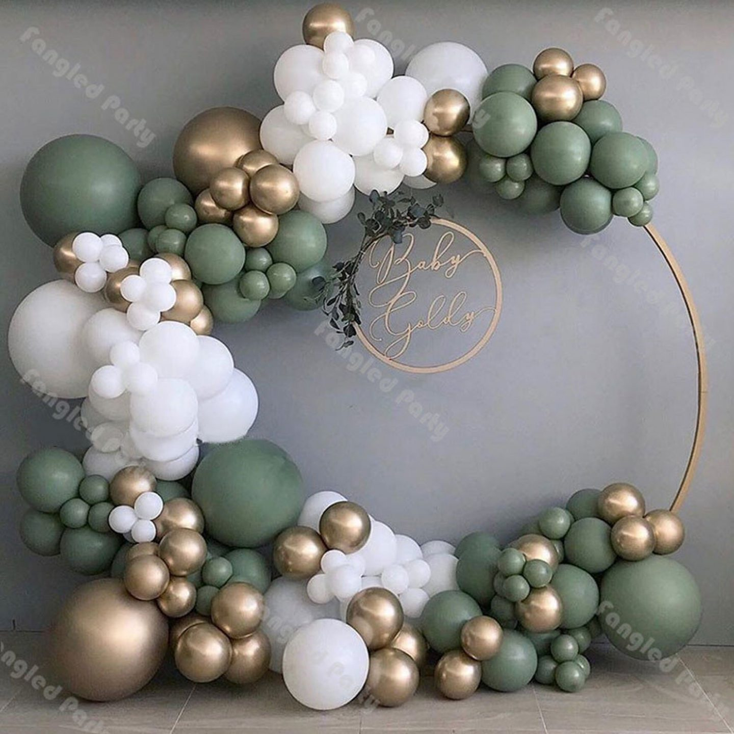 White, gold and green balloon garland arch for parties