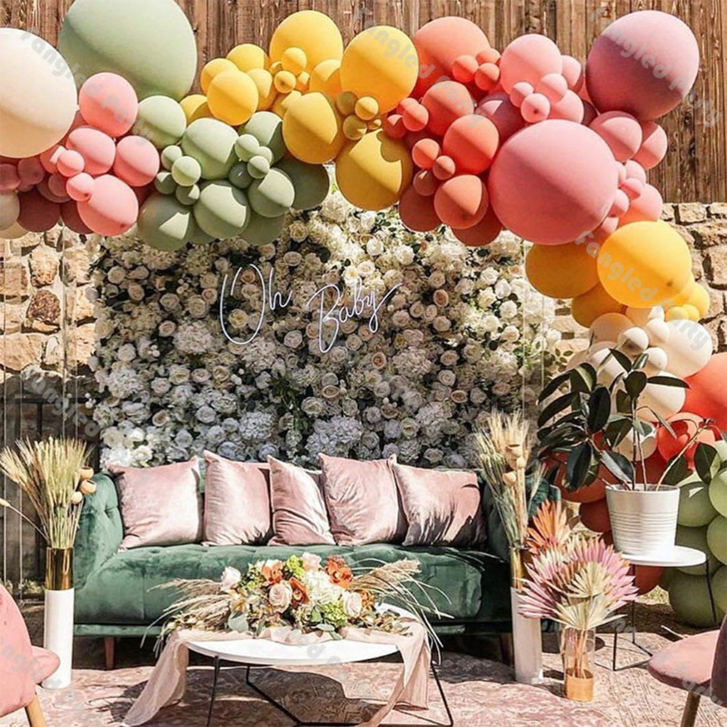 Beautiful baby shower decorations with rose wall and coloful balloons