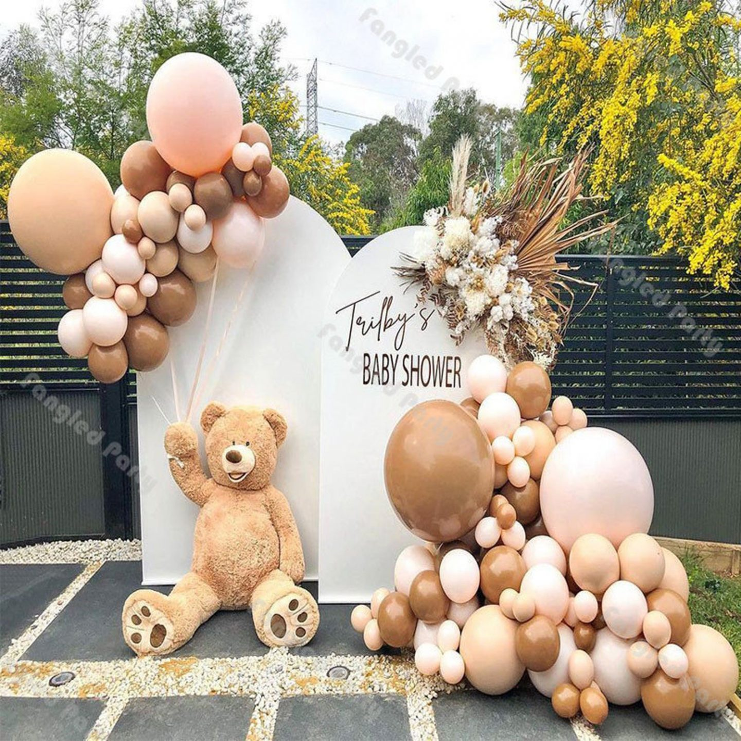 Neutral and brown baby shower balloons with teddy bear