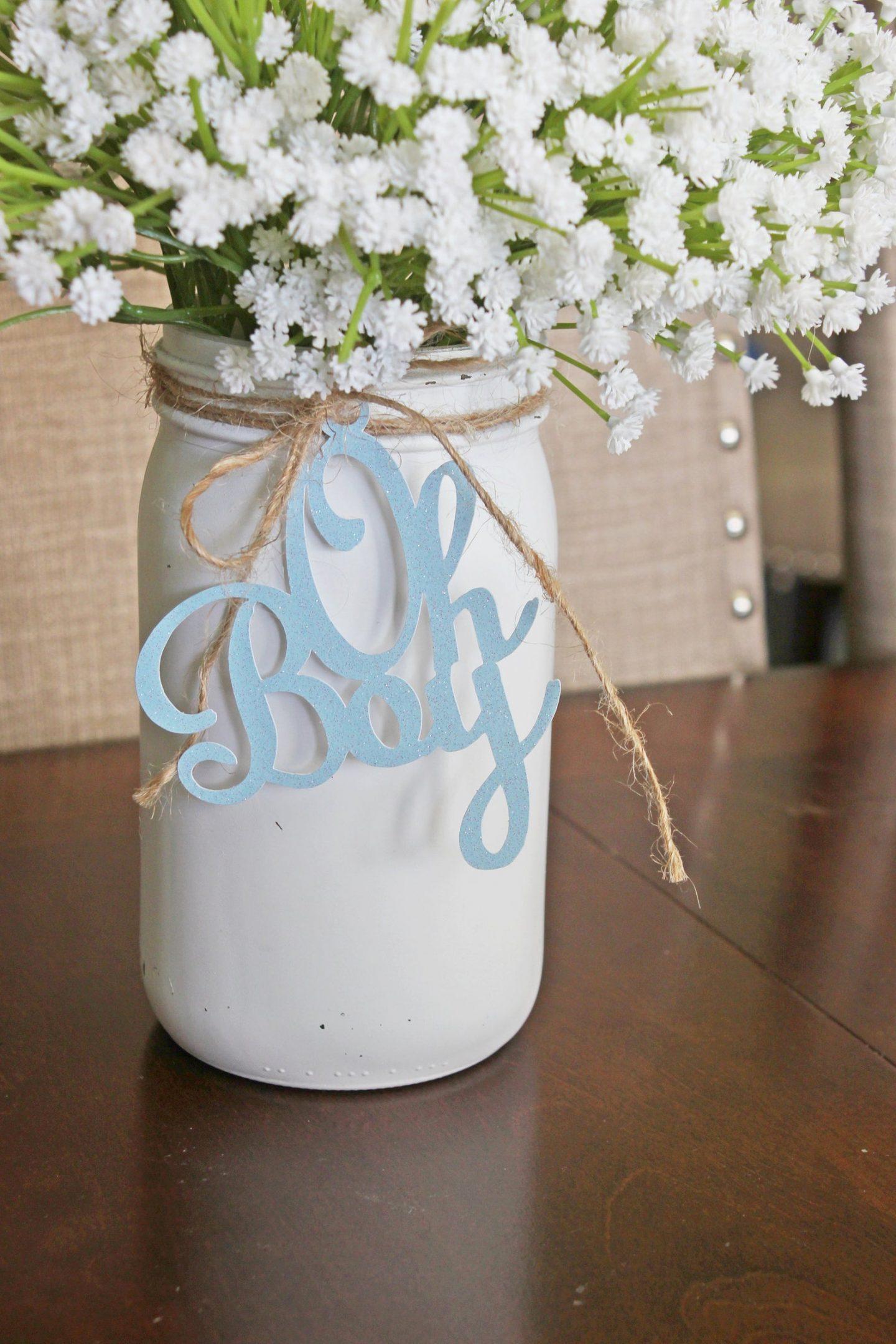 Baby shower mason jar decorations
