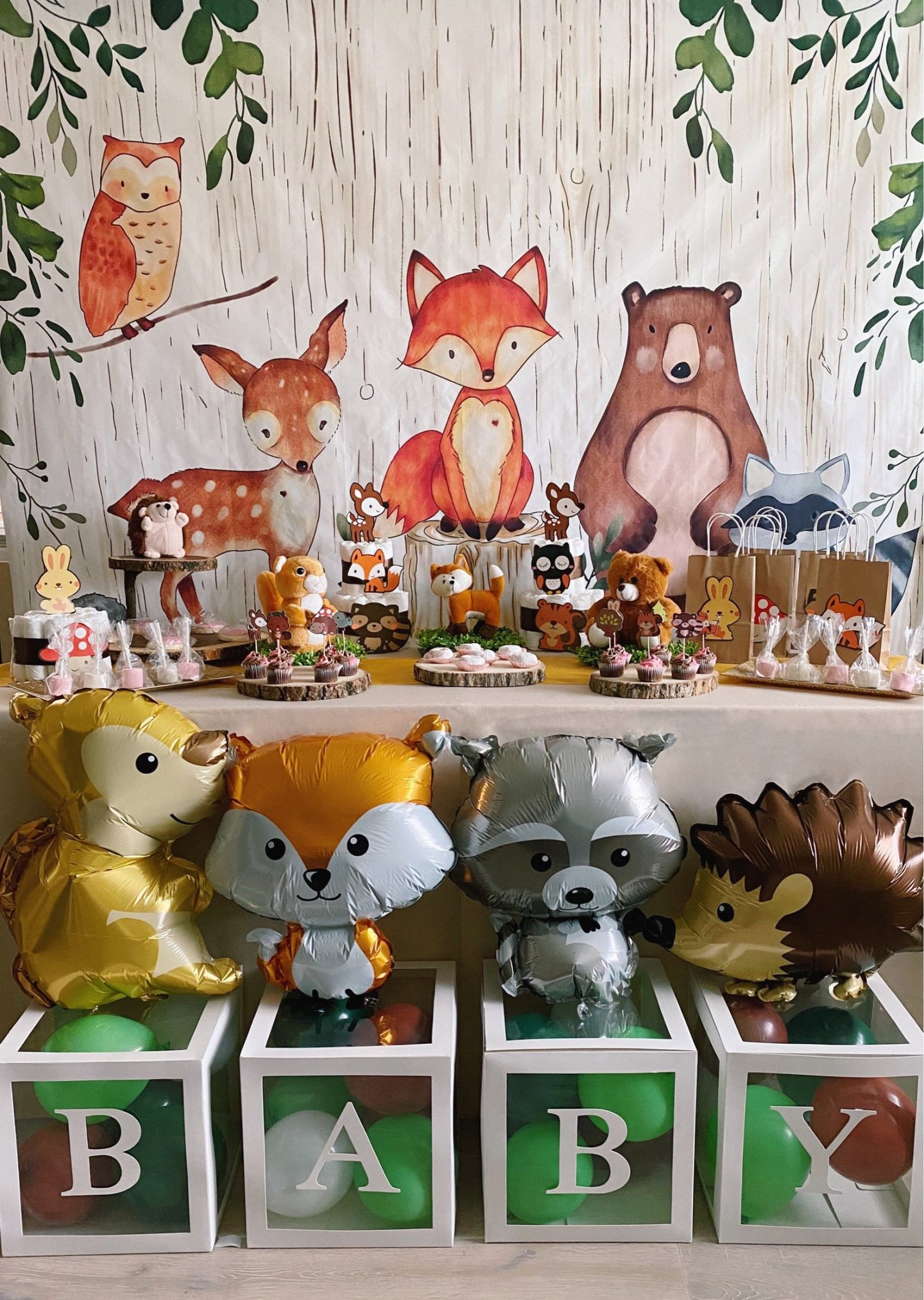 Woodland animals baby shower decorations