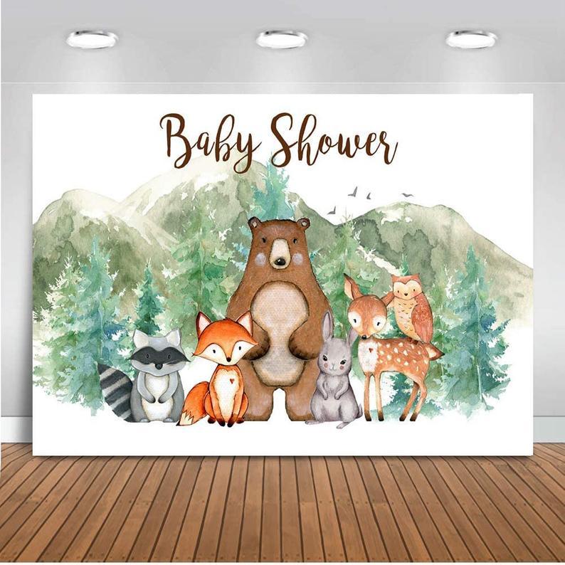 Woodland animals baby shower background for photos