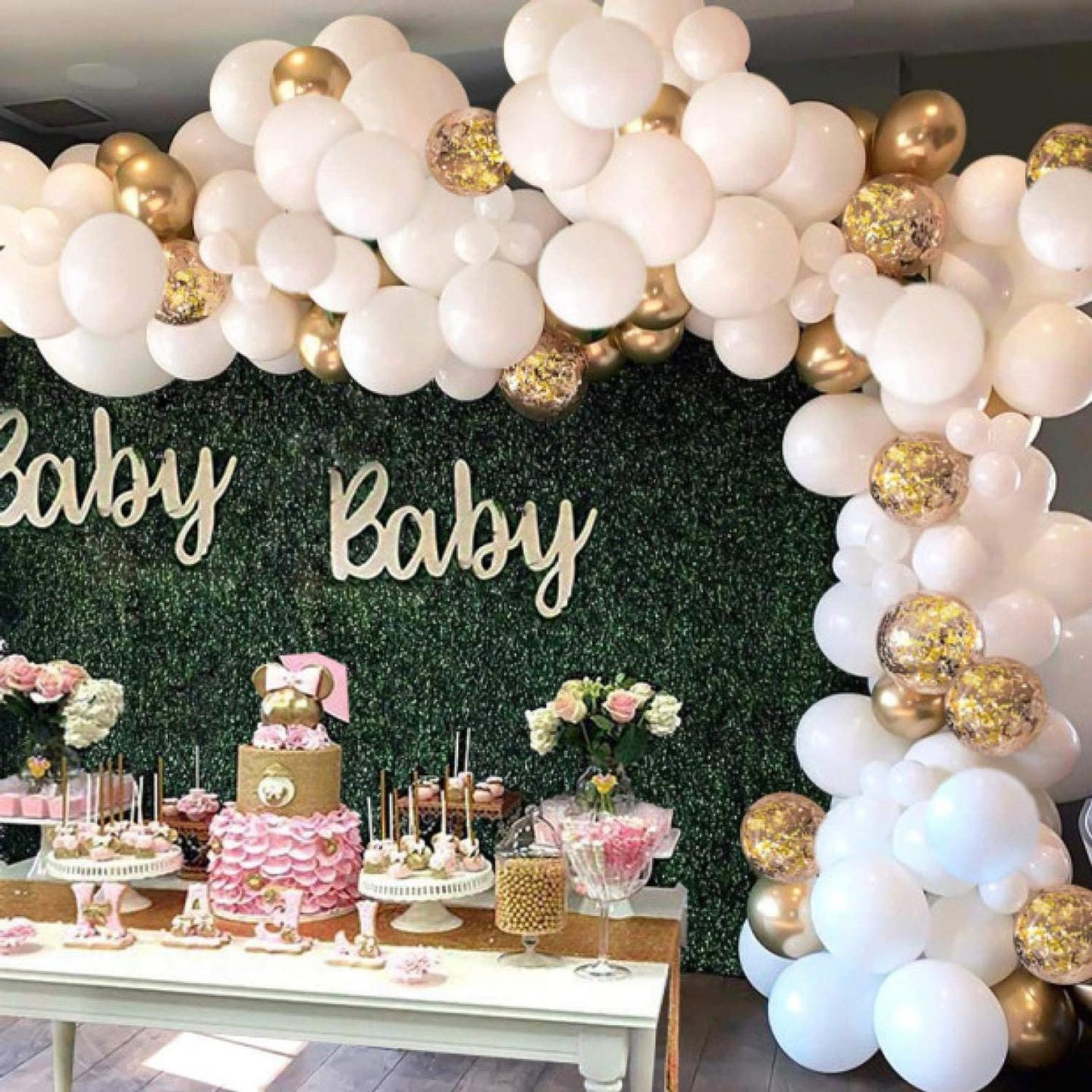 Pink and gold baby shower balloons