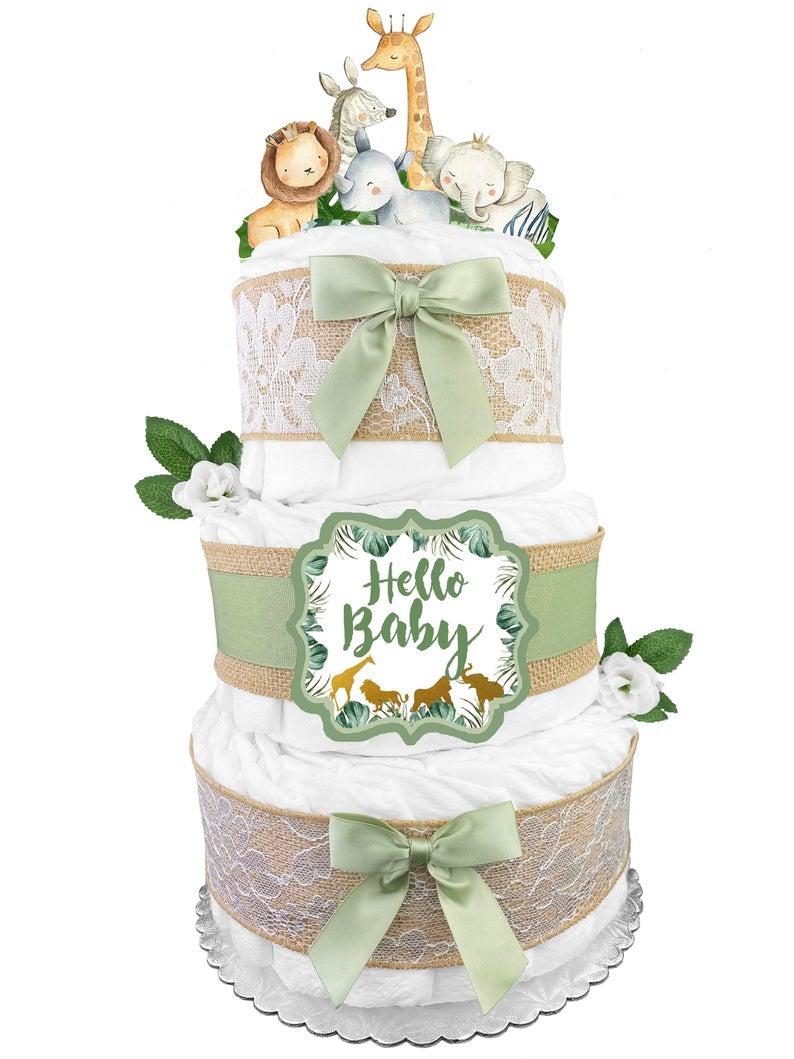 Green safari themed diaper cake for baby