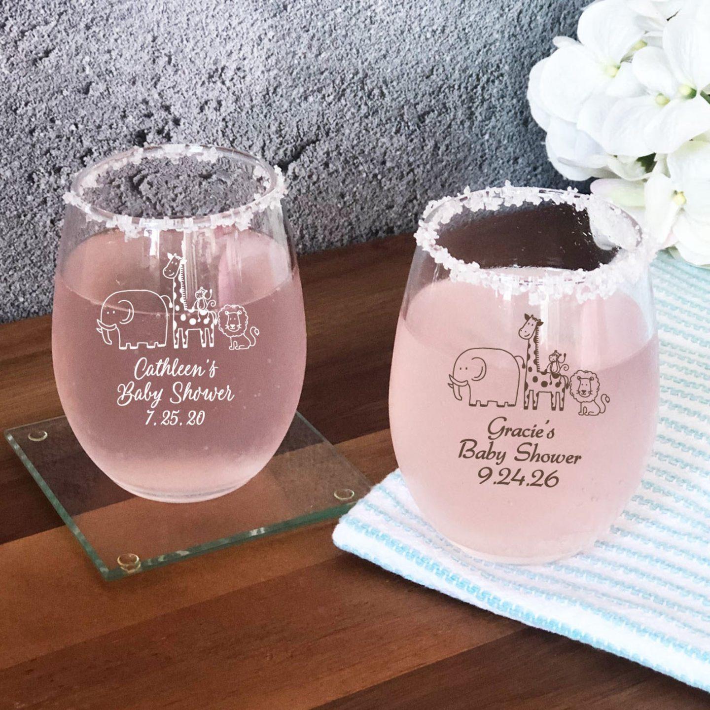 Baby Safari Baby Shower Custom Wine Glasses and Baby Favors