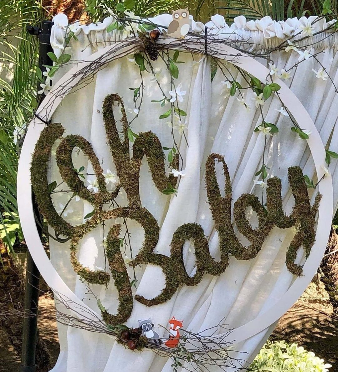 Large woodland Oh Baby nursery sign decor