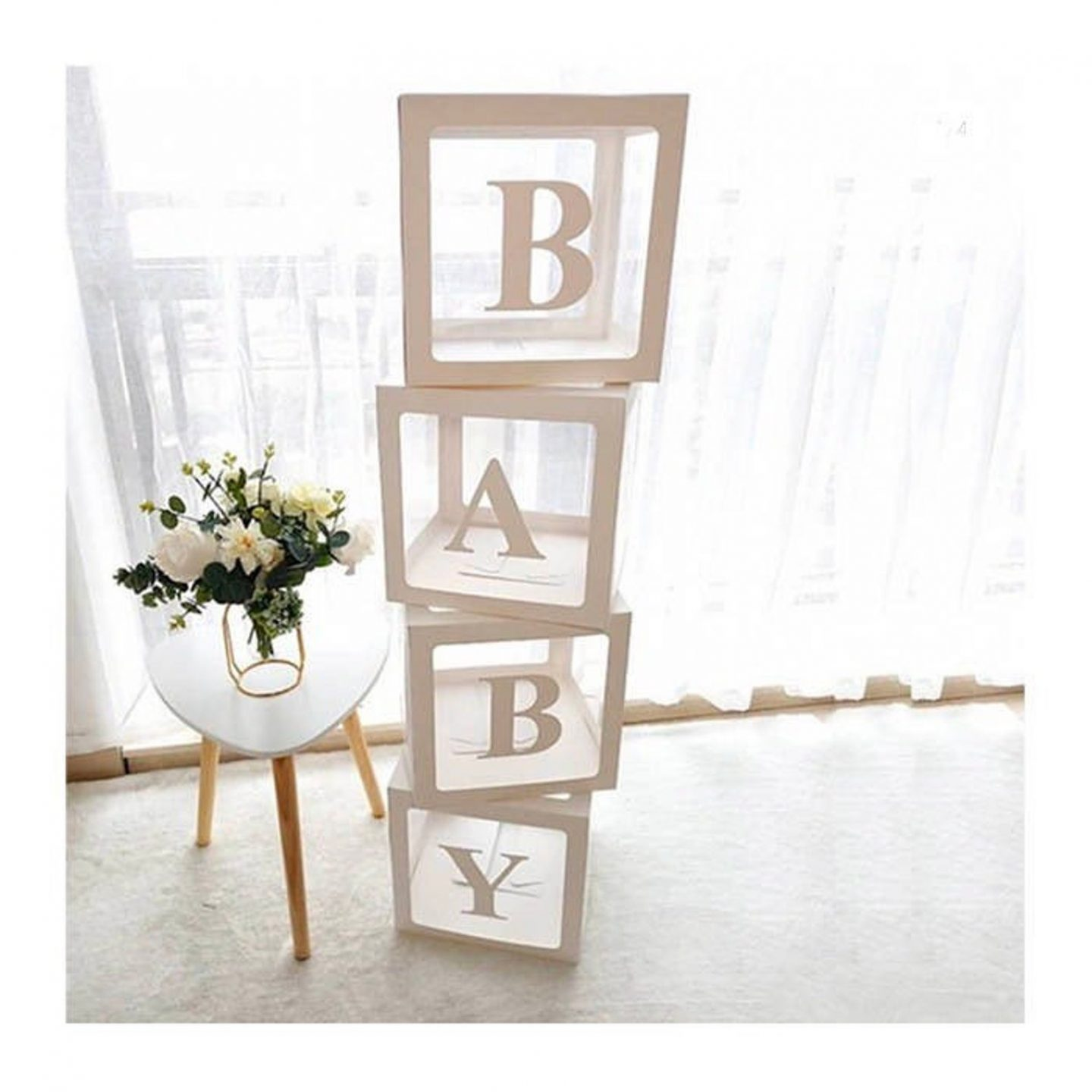 White Transparent BABY Boxes for baby shower