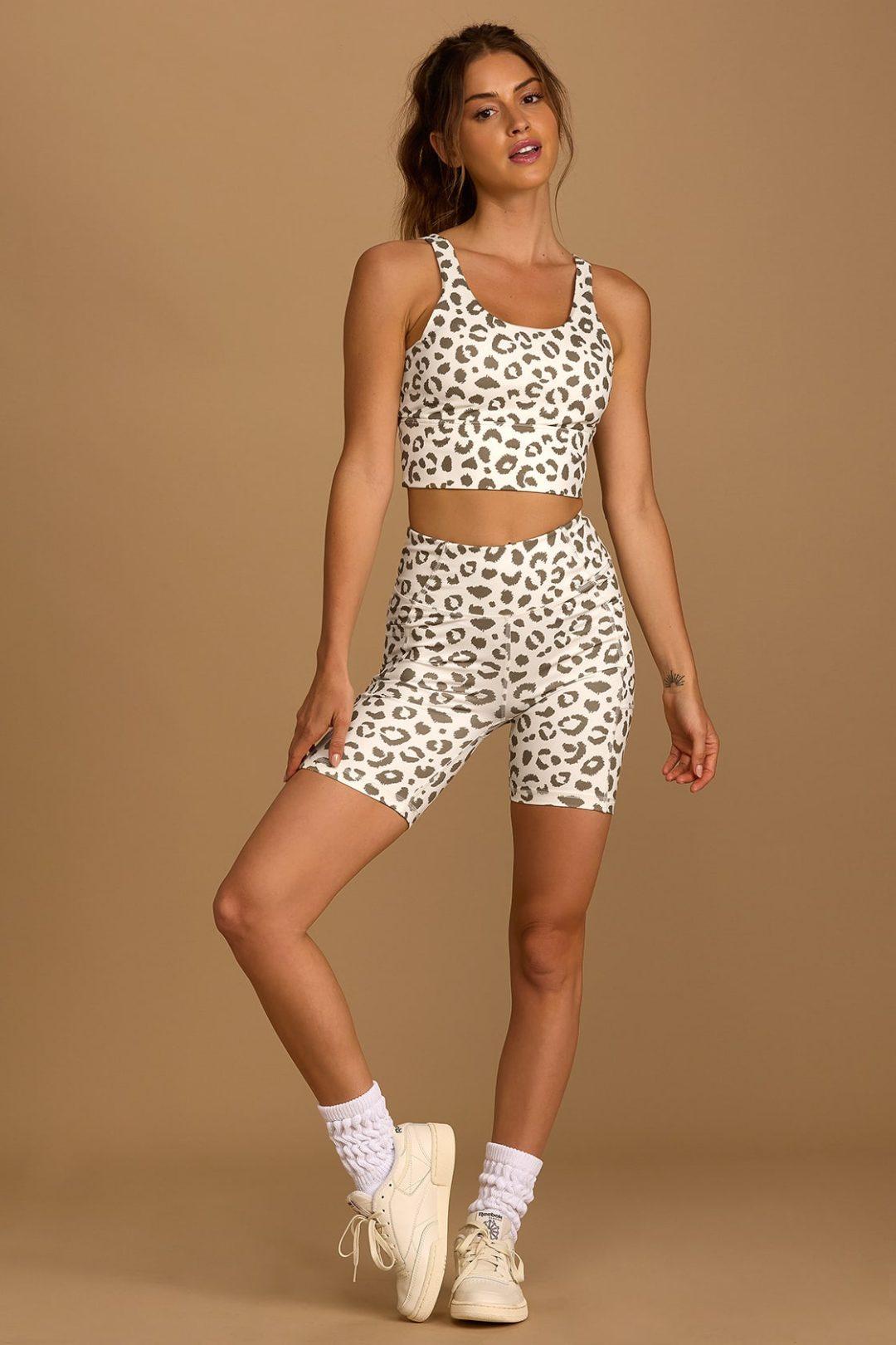 Matching white leopard print cycling shorts set