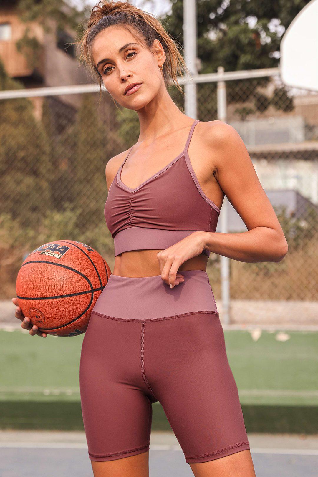 Matching mauve athleisure and workout set