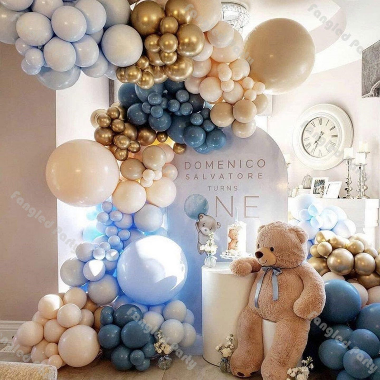 Cream and light blue balloon garland with teddy bear