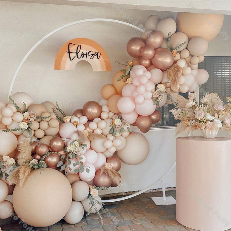 Cream, rose gold and pink balloon garland