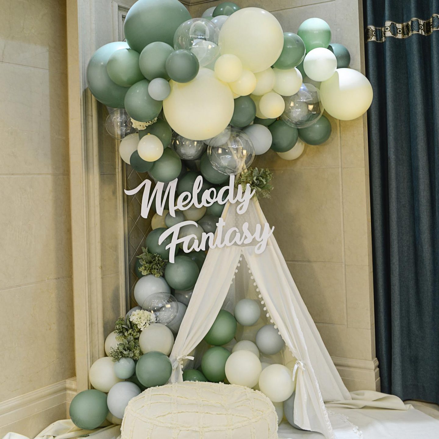 Matte green and white birthday party decorations