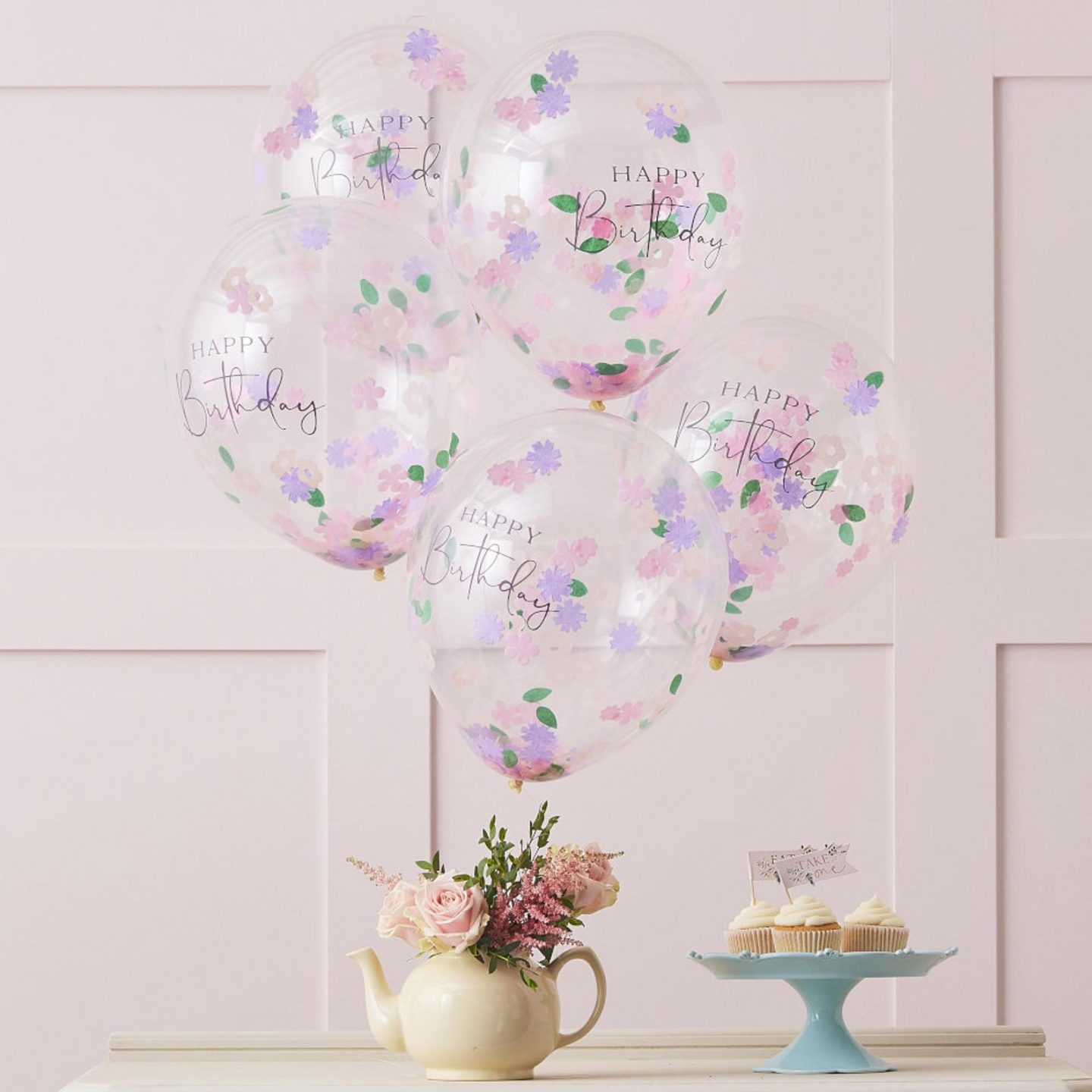 Happy birthday balloons with flower confetti