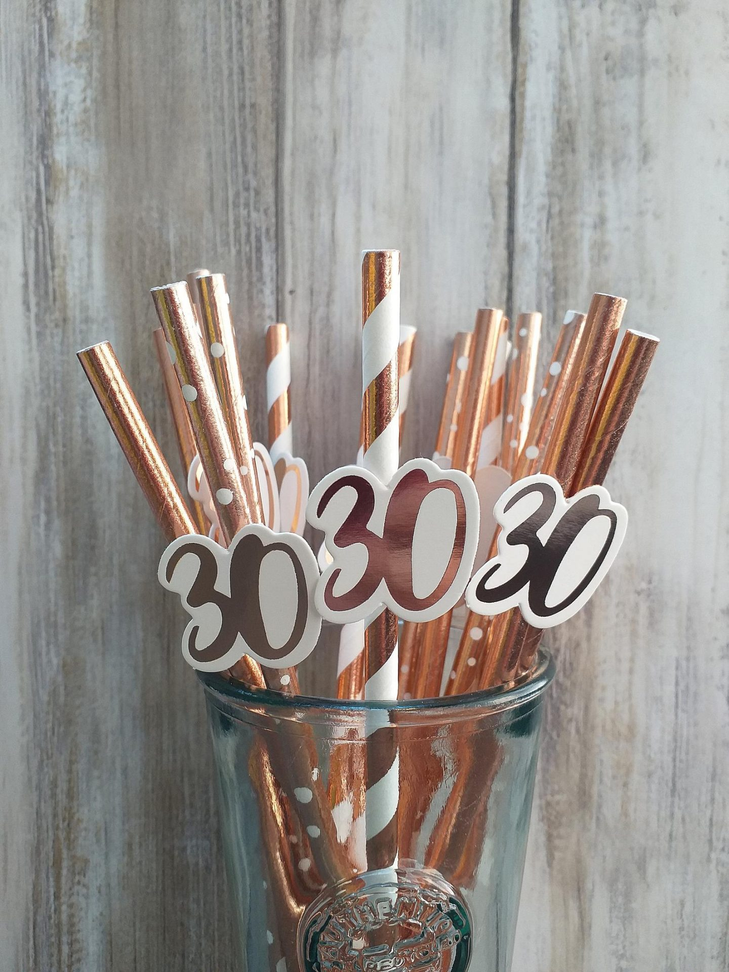 Rose gold custom birthday straws