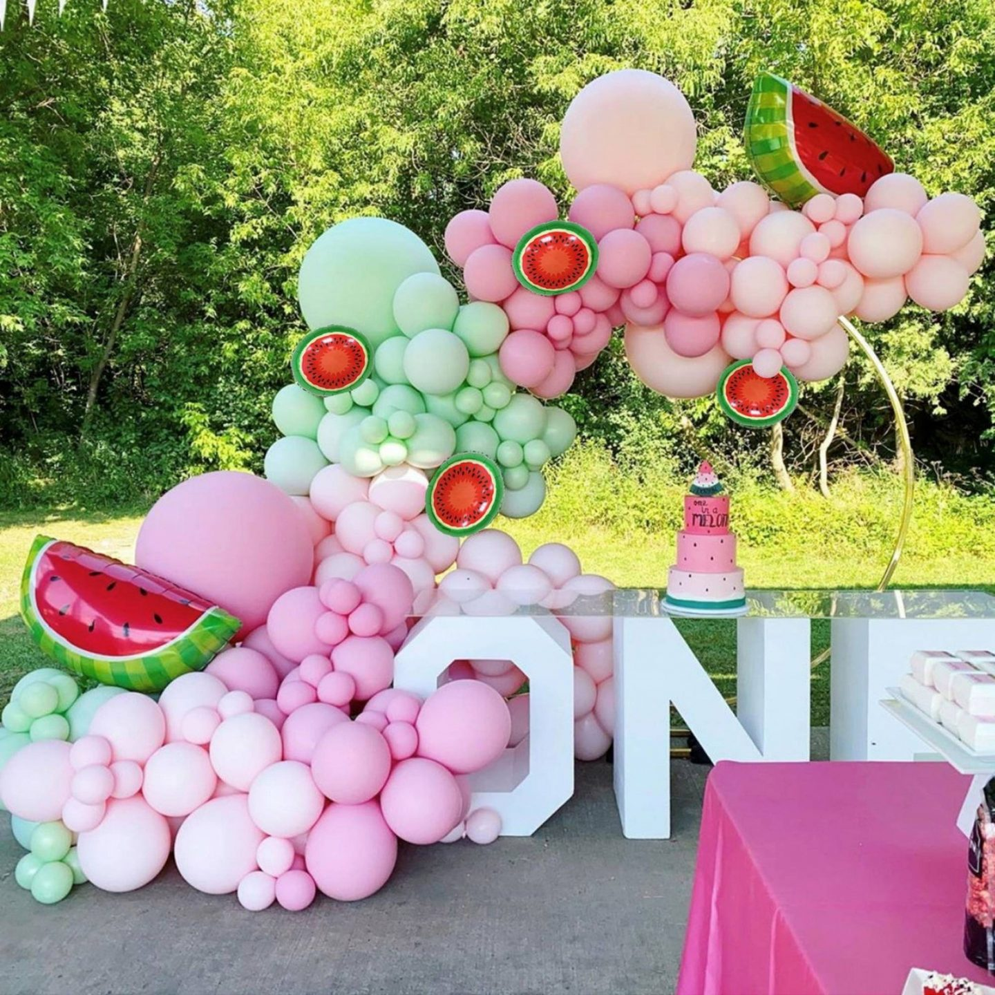Watermelon birthday party decorations with balloon garland