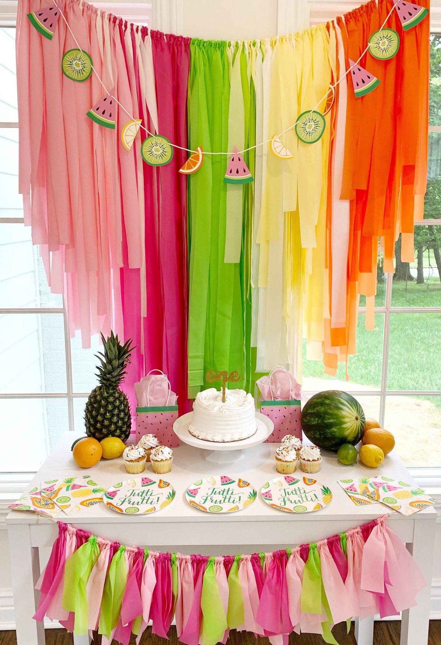 Rainbow and watermelon fringe birthday decor