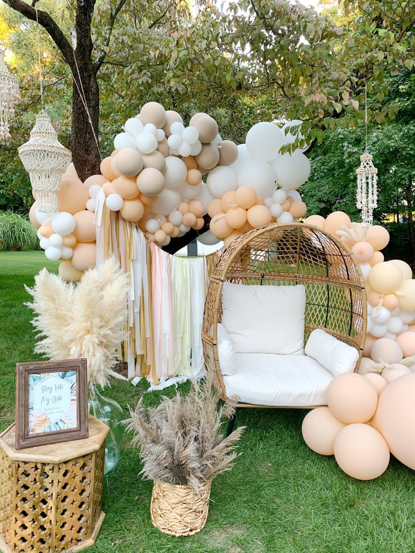 White, peach and cream birthday party balloons