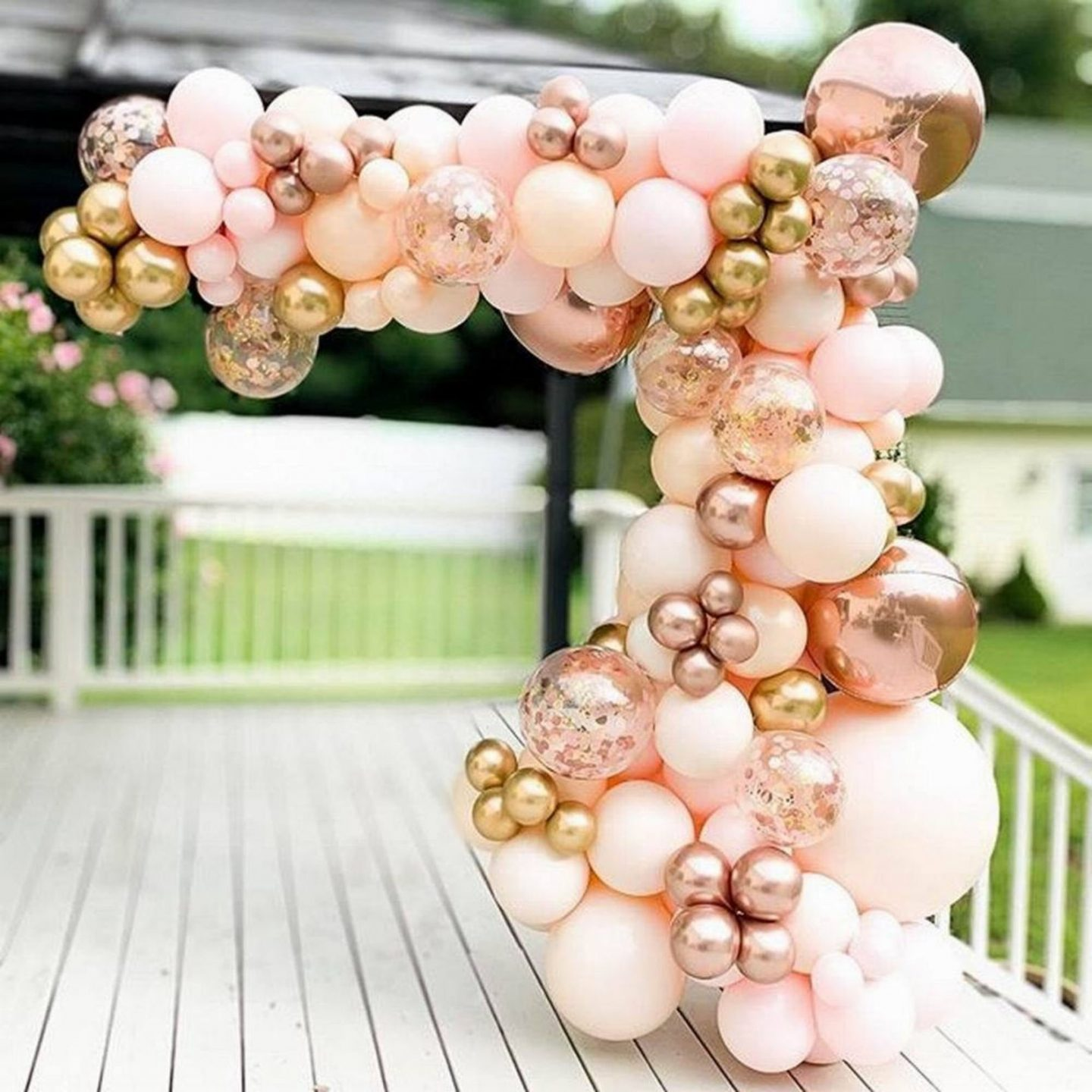 Pink and rose gold balloon arch