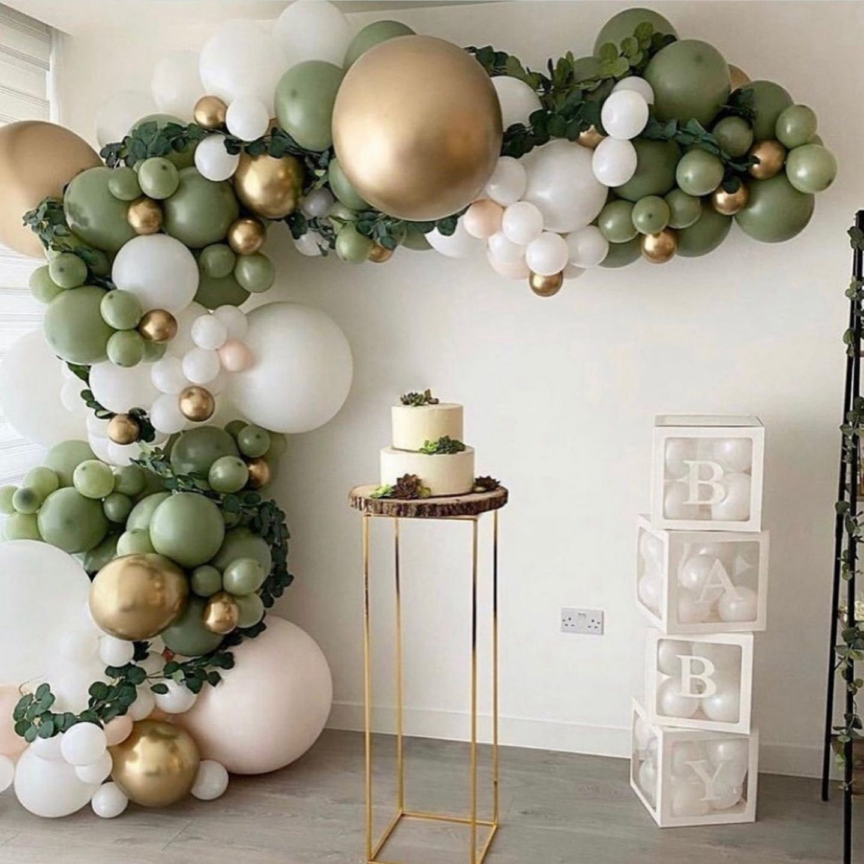 Sage green, white and green balloon garland