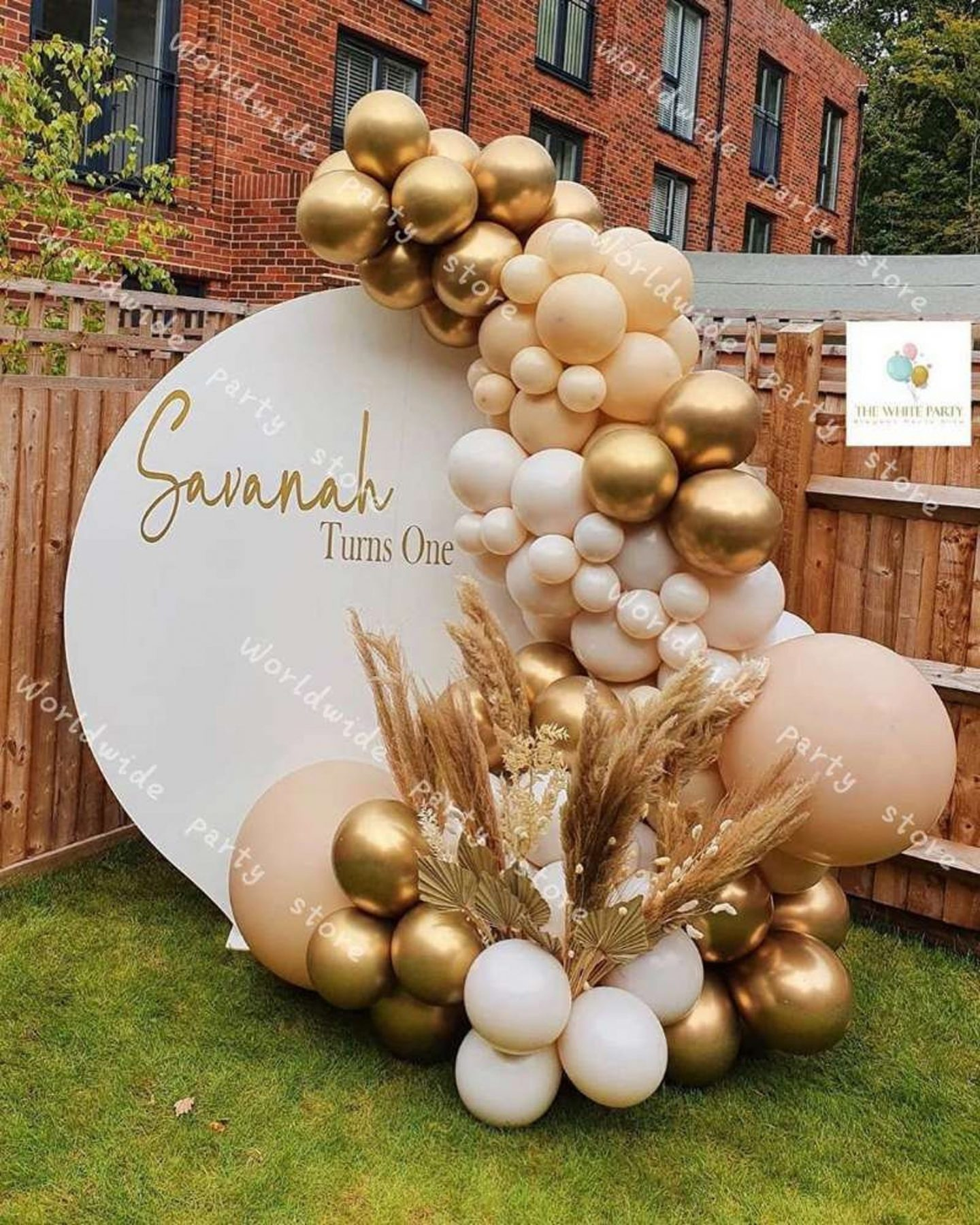 Ombre cream, brown and gold birthday balloons and party decor