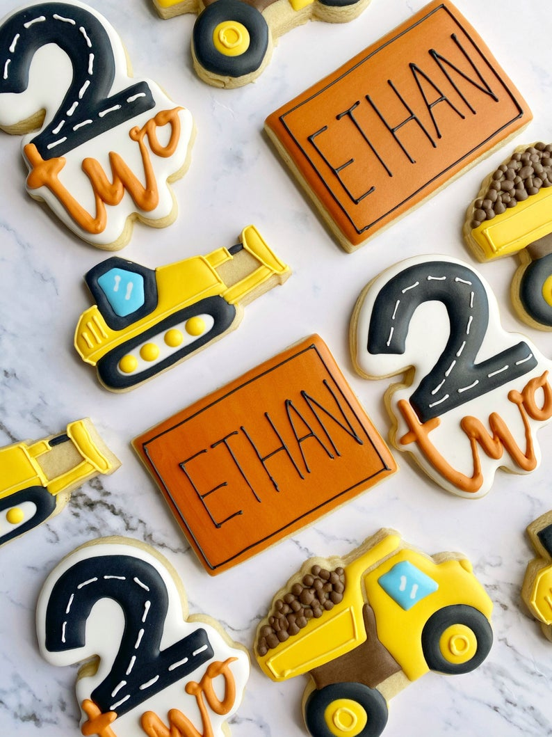 Construction themed sugar cookies for kids birthday parties