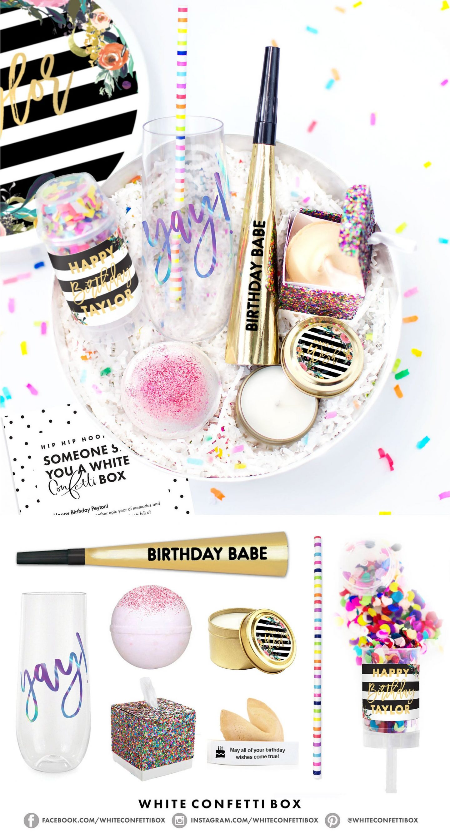 Cute birthday party bowl with confetti, glasses and poppers