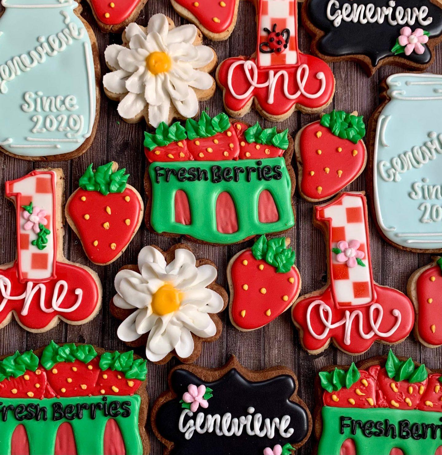 Strawberry themed birthday sugar cookies