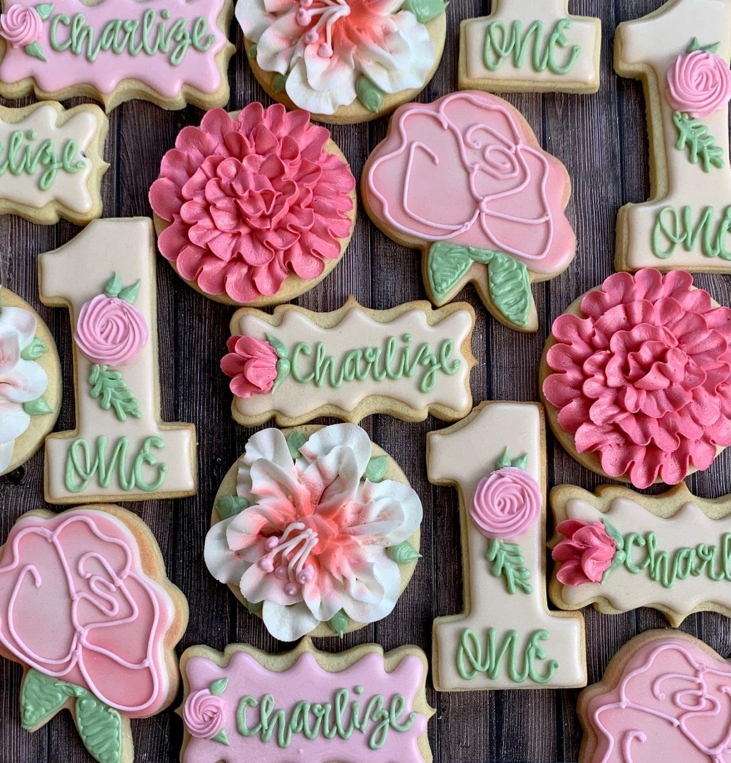 Cute pink floral birthday party sugar cookies