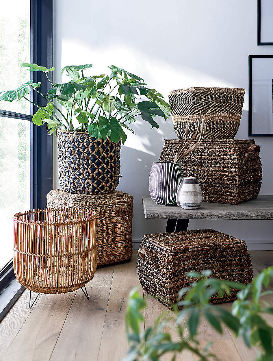 Rattan woven storage baskets and plants