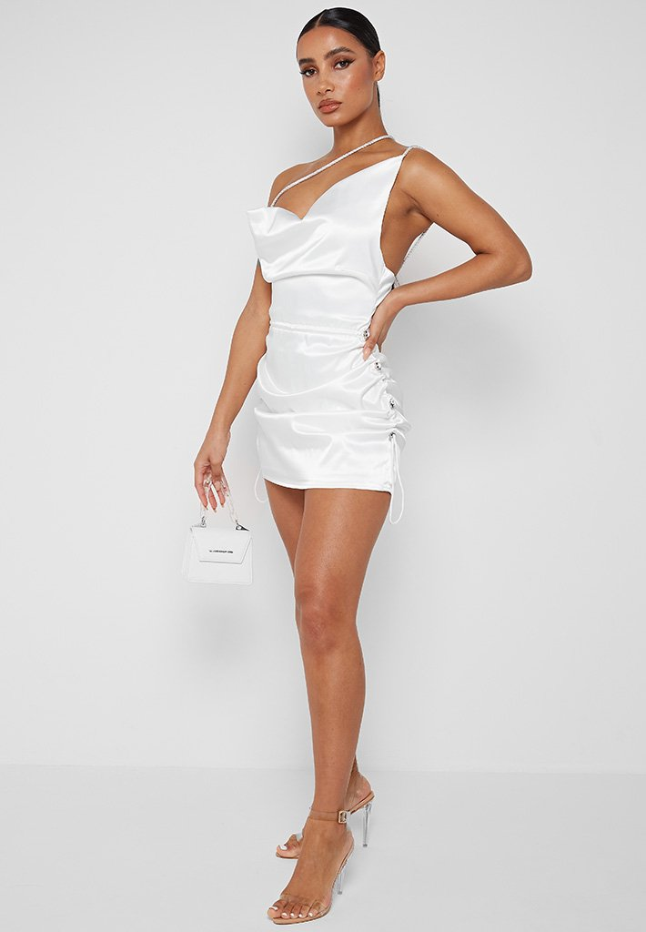 White satin dress with ruches