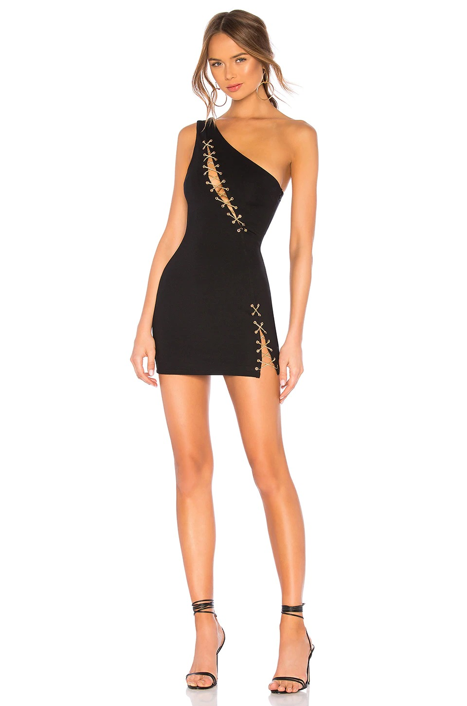 Black chain lace up mini dress with thigh slit