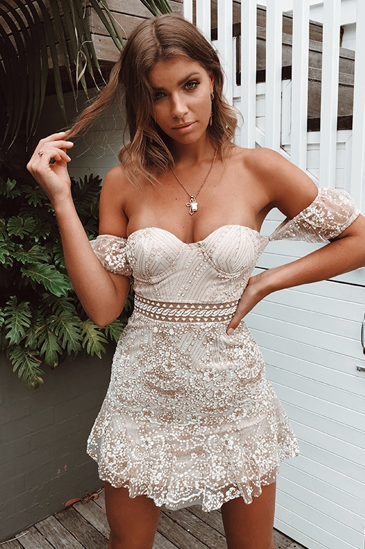 Off white lace and sequin dress