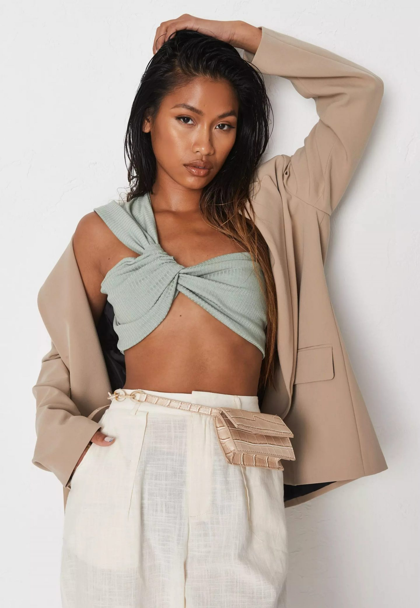 Sage cut out bandage top with beige blazer