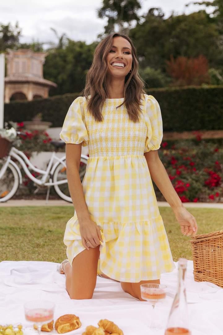 Yellow picnic mini dress with gingham print