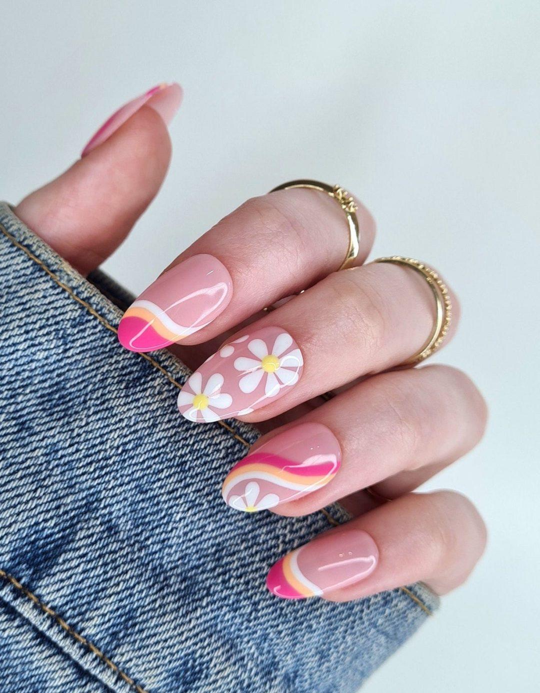 70s retro nails with daisy flowers