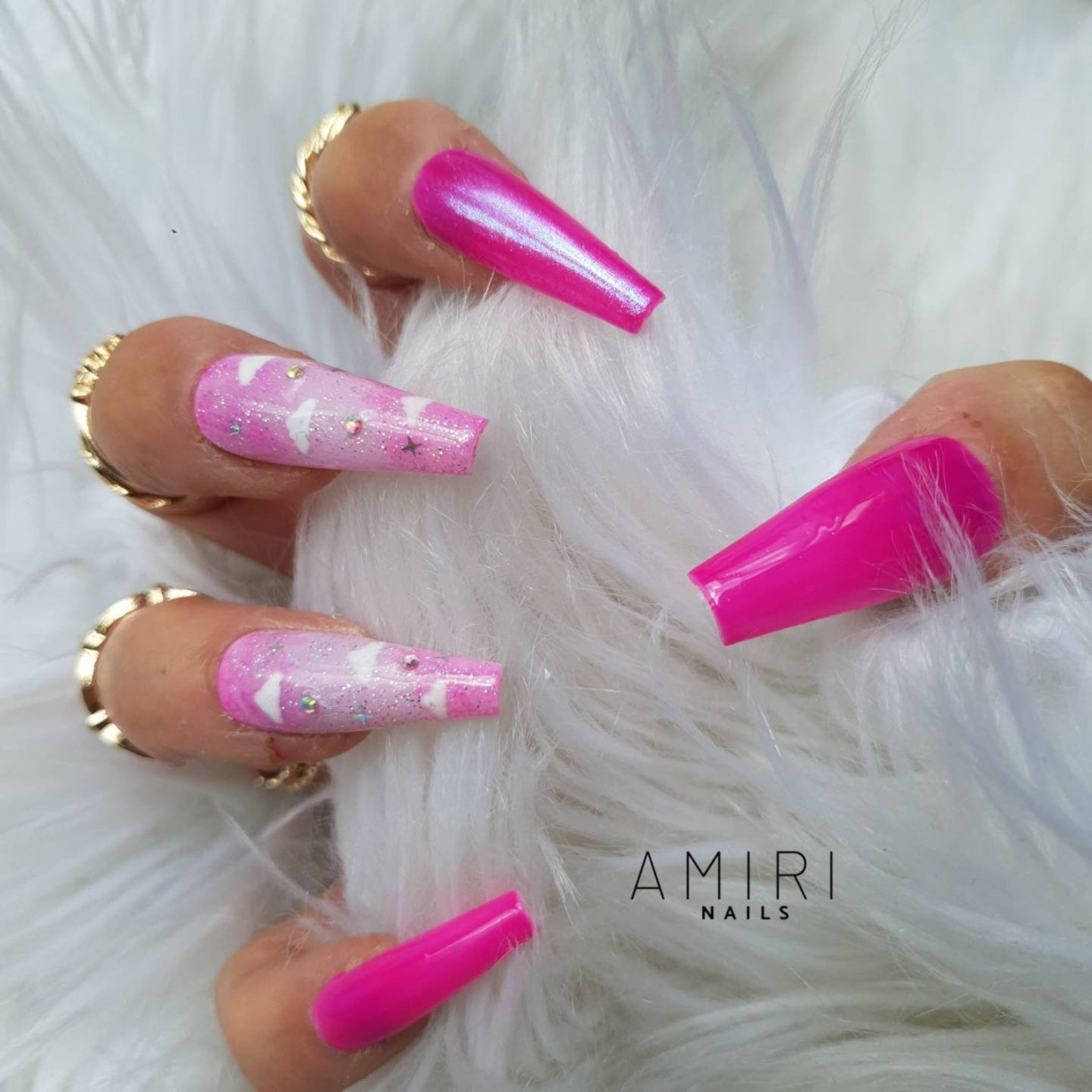 Hot pink cloud nails in acrylic coffin shape
