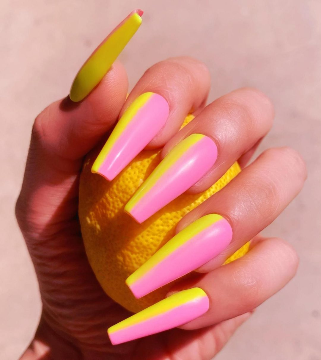 Long yellow and pink coffin nails