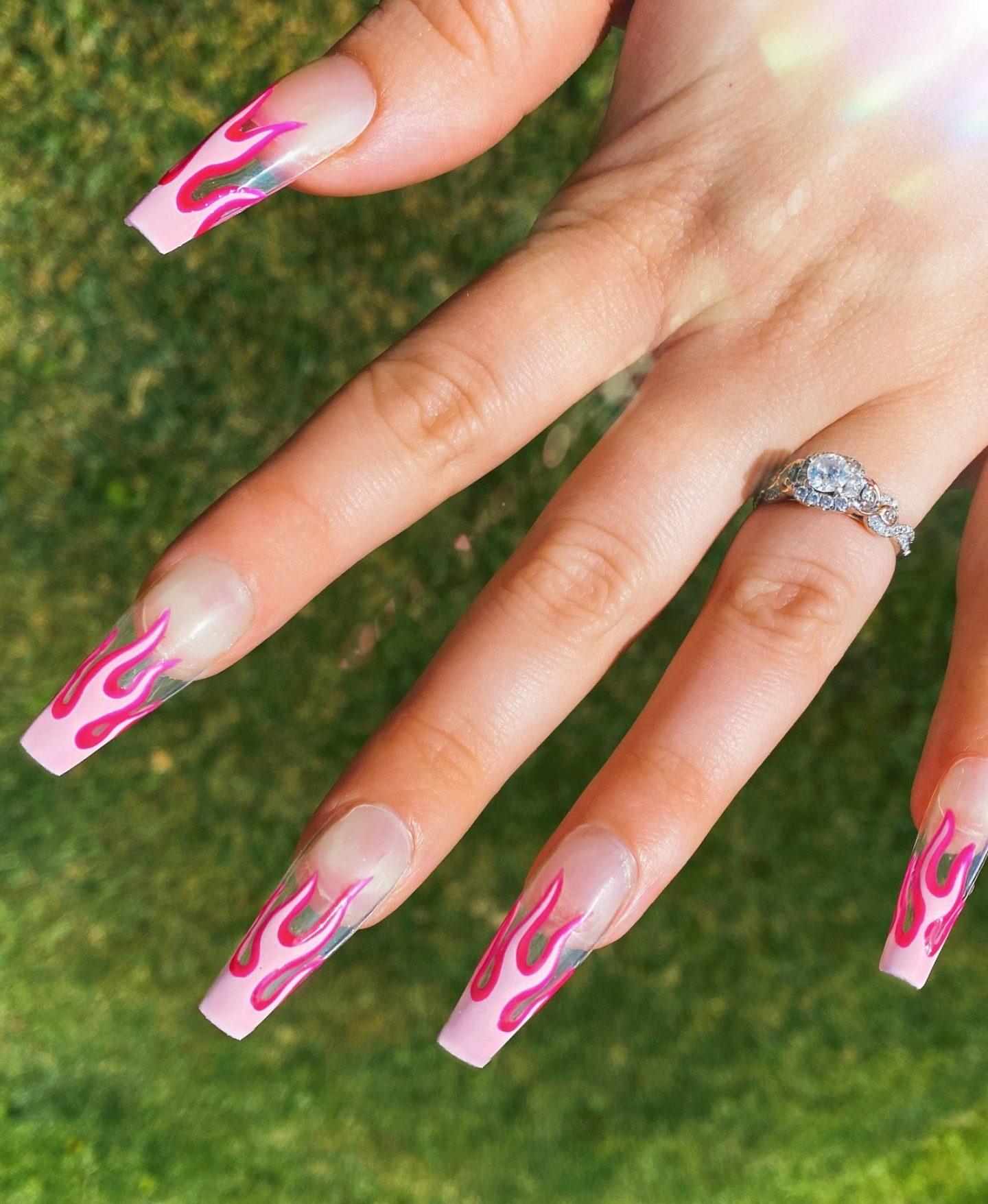 Pink flame nail art